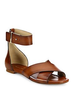 Michael Kors Collection Robbie Leather Flat Sandals