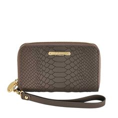 Full Zip around closure with detachable wristlet feature.