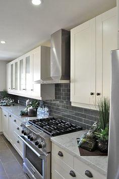 Gray Subway Tile Backsplash: For the kitchen! White cupboards, gray tile backsplash and maybe a dark countertop?