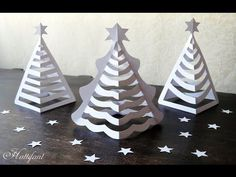 Here are some delicate 3D Paper Christmas Trees for you to create! Find templates on Hattifant's website at http://hattifant.com/hattifants-3d-paper-christma...