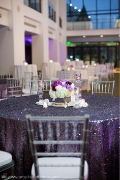 Purple shimmer tablecloth.