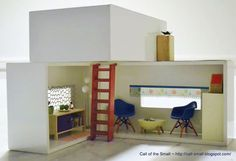 Easy DIY Dollhouse | DIY dollhouse from tissue box covers. The tissue slot makes a perfect ...