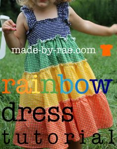 Cute shirred rainbow dress - reminds me of one i had as a kid