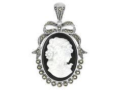 Tillya Treasures(Tm) Mother Of Pearl Cameo,Black Onyx And Marcasite Sterling Silver Enhancer