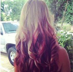 Blonde and red reverse ombre