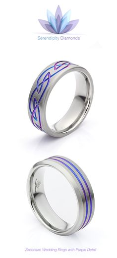 Zirconium wedding rings with Celtic pattern and purple detail. Crafted in solid Zirconium, crafted with unique styling including an iridescent flash of purple for a truly original and individual look. View more online at Serendipity Diamonds.