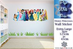 Disney Princesses children's bedroom wall sticker bedroom sticker large. Disney Princesses Wall Sticker. Easy to apply to your wall- clean surface, peel back the applicator tape with the sticker attached, stick the whole thing to your wall, rub over with a soft cloth ! | eBay!