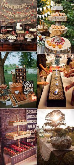 fall and autumn weddding dessert bar table display ideas