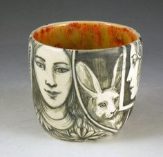 black and white hand painted tea or wine cup with by PSPorcelain, $38.00