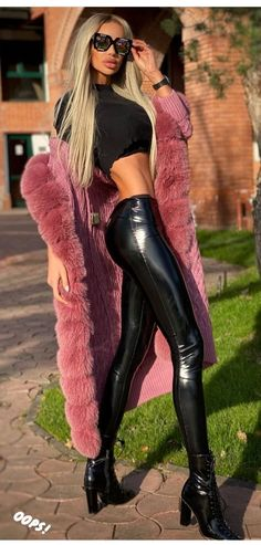 Fur Fashion, Womens Fashion, Chic Outfits, Fashion Outfits, Fashion Clothes, Leather Bodysuit, Shiny Leggings, Girls With Glasses, Silhouette
