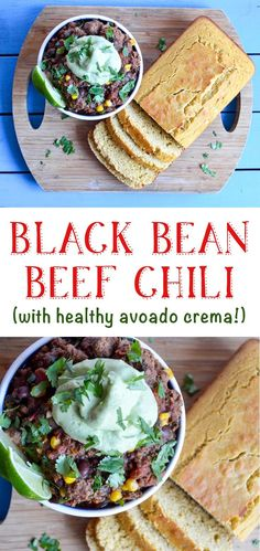 black bean beef chili with healthy avocado crema topping recipe Chili Recipe With Black Beans, Beef Chili Recipe, Black Bean Recipes, Chili Recipes, Avocado Crema, Greek Yogurt Recipes, Avocado Recipes, Dishes, Healthy