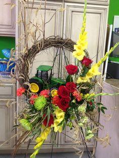 Order John Deer Tractor Funeral Spray from HEATHER'S WAY FLOWERS & PLANTS - Jonesboro, AR Florist & Flower Shop.
