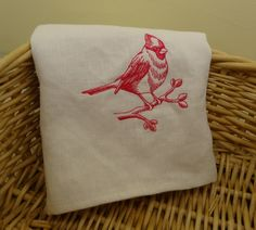 White Linen Dish Towel with Cardinal Embroidery,  100% Linen Dish Towel, Linen Dish Cloth, Dish Towel, Dishcloths & Kitchen Towels, Cardinal by RedbirdOriginals on Etsy