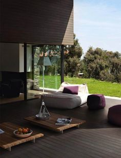 Timber time – wood-look porcelain and ceramic tiles do a great job of imitating wooden decking on a patio
