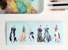 Greeting Card: Lots of Party Dogs by StripedCatStudio on Etsy