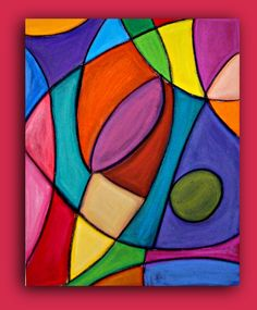 """Bright Colorful Original Abstract Painting Large Wall Art Fine Art on Gallery Canvas Titled: Stained Glass 24x30x1.5"""" By Ora Birenbaum. $245.00, via Etsy."""