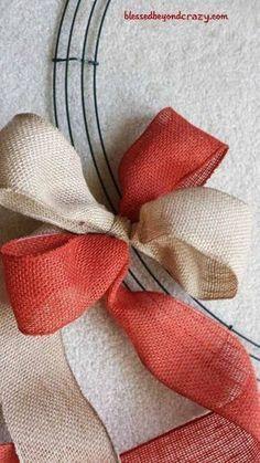 Two Color Burlap Wreath Tutorial Diy Fall Wreath, Holiday Wreaths, Wreath Ideas, Winter Wreaths, Spring Wreaths, Summer Wreath, Fall Ribbon Wreath, Burlap Christmas Wreaths, Halloween Mesh Wreaths