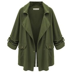 Appealing Lapel With Pockets Plain Trench Coats ($31) ❤ liked on Polyvore featuring outerwear, coats, jackets, green coat, long lapel coat, lapel coat, pocket coat and long coat