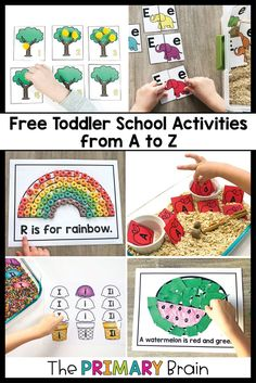 Aug 19, 2020 - These free toddler activities take you through the alphabet through themed toddler activities. Engage your 2-3 year old child in toddler crafts, toddler math activities, fine motor, and sensory bins for toddlers. All toddler activities are from The Primary Brain's Toddler School Curriculum. Preschool Curriculum Free, Preschool Lesson Plans, Preschool Education, Kids Learning Activities, Toddler Activities, Preschool Activities, Free Education, Toddler School, Toddler Classroom