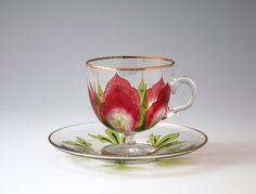 "Decorative glass ""Flower pattern glass cup & saucer"""