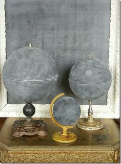 chalkboard globes - create your own world. Great teaching tool and u can draw only one continent/country to focus on for a while and list details about it on other parts of the globe. Good for the out of date globes that drive hubby nuts too ;)