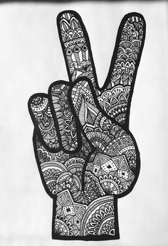 zentangle peace sign by InspiredbyLucilla on Etsy