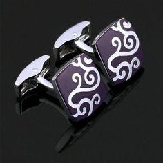 X-005-Stainless-Steel-Silver-Toned-Enamel-Wedding-Cufflinks-Gift-Box-Free-S-H