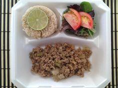 Turkey Picadillo, Brown Rice and Spring Salad.