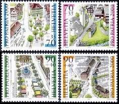 Switzerland postage stamps 2000 - Townscapes, historical places in Switzerland