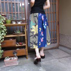 浴衣スカート☆可愛い+男物+大人な百合柄♪78㎝丈