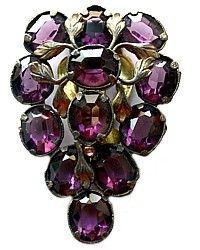 Large Antique Amethyst Purple Rhinestone Dress Clip-paste,brooch,czech,pink,gilt, leaf, grape, pin,jewelry