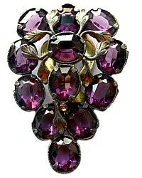 Large Antique Amethyst Purple Rhinestone Dress Clip-paste,brooch,czech,pink,gilt, leaf, grape, pin,jewelry