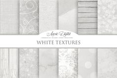 White Textures Digital Papers. Textures. $3.00
