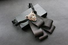 Gold Leopard Black Ribbon Wedding Groom Mens Bow Tie Brooch Clip #handmade…