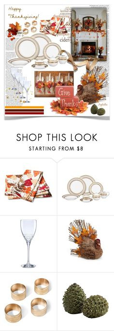 """Give Thanks"" by angelicallxx ❤ liked on Polyvore featuring interior, interiors, interior design, home, home decor, interior decorating, Kate Spade, Jim Marvin, Threshold and thanksgivingtable"