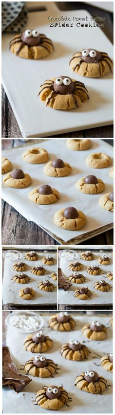 A Must-Make this season: Chocolate Peanut Butter Spider Cookies Recipe on http://ASpicyPerspective.com #halloween