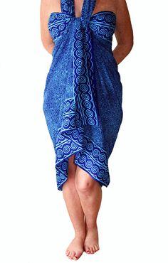 1768e4ac2967d PLUS SIZE Womens Clothing Sarong Dress or Skirt Extra Long Sarong Wrap  Batik Pareo Black & Teal Spiral Plus Size Beach Sarong Plus Swimwear