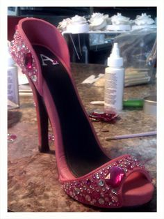 Gum paste and Chocolate High Heel with bling! Valenas Custom Cakery on FB Valenascakes@gmail.com