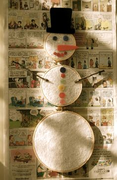 Hoop Snowman- can use felt and let him   add his embellishments