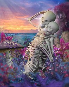 The art of Dan Verkys Skeleton Love, Skeleton Art, Art Of Dan, Badass Skulls, Bad To The Bone, Skulls And Roses, Fright Night, Skull And Crossbones, Grim Reaper