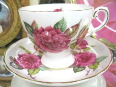 Tuscan Tea Cup And Saucer Duo Camellia Pattern Hpt Flowery photo