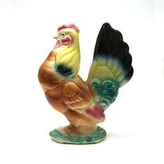 Ceramic ChickenRoosterFigurineDecorative by colemanvintage on Etsy, $15.00