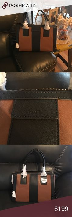 NWT, Authentic Leather Brown & Black Fossil Purse Brand new with tags never carried. Brown and black genuine leather. Handle carry with ABOUT an 8 inch drop. Measures inside purse ABOUT 12 inches in depth. Length of purse on bottom ABOUT 14 inches. Length from top to bottom of purse ABOUT 12 inches. 100% authentic. Fossil Bags Shoulder Bags