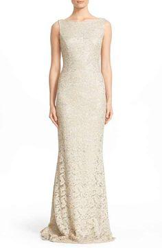 Carmen Marc Valvo Sequin Lace Column Gown
