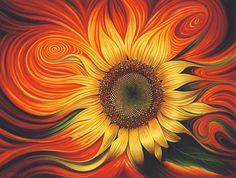 Girasol Dinamico by Ricardo Chavez-Mendez - Girasol Dinamico Painting - Girasol Dinamico Fine Art Prints and Posters for Sale Art Beauté, Sunflower Art, Sunflower Fields, Fine Art, Fractal Art, Doodle Art, Painting Inspiration, Painting & Drawing, Painting Abstract