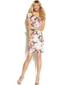 INC International Concepts Floral-Print Illusion-Back Dress - INC International Concepts - Women - Macy's