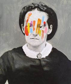 Monochromatic Portraits Obscured by Colorful Abstract Markings by Guim Tió Zarraluki   Colossal
