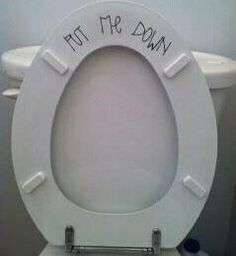 I have this on my toilet to help some one remember every time that he uses the bathroom to put the seat back down :)