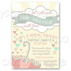 8078c588a661 Shower With Love Bridal Shower Invitation by ShopAlysonMade Baby Shower  Themes
