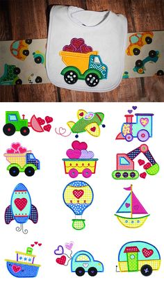 """Love is """"on the go"""" with these 12 precious transportation vehicles in applique! Perfect for boys and girls! 4 sizes included: 4x4, 5x7, 6x10 and 8x8. Available for instant download at designsbyjuju.com"""